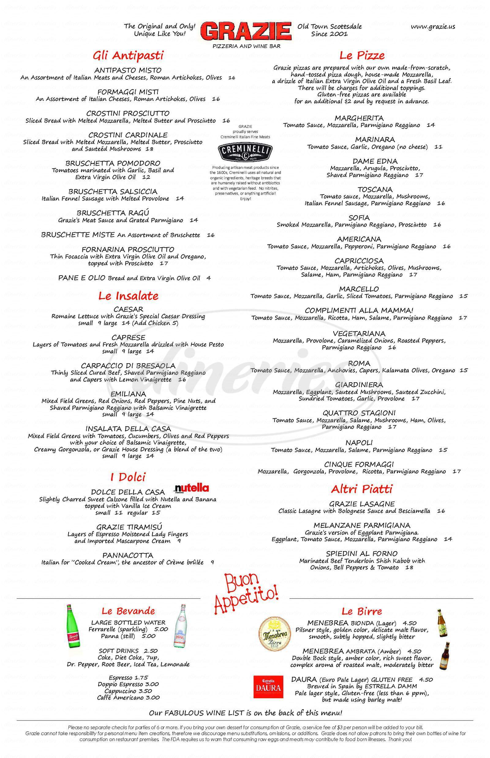 menu for Grazie Pizzeria & Wine Bar