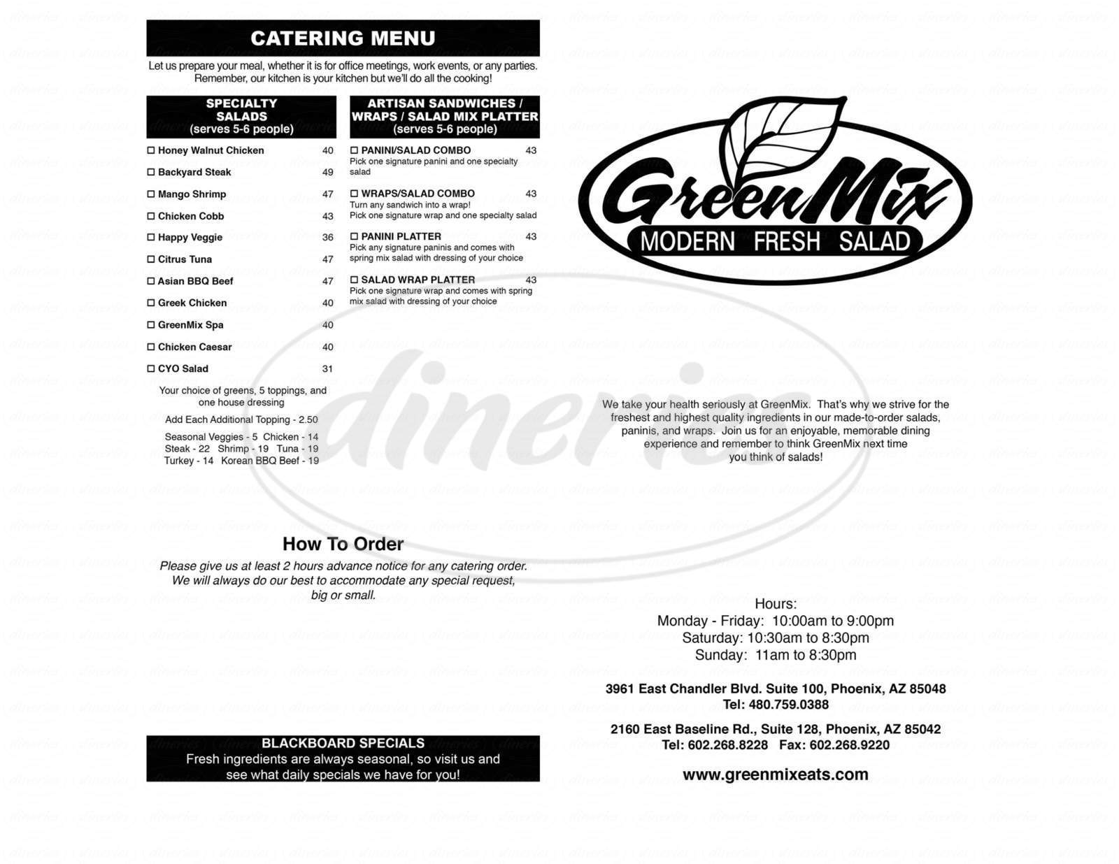 menu for GreenMix
