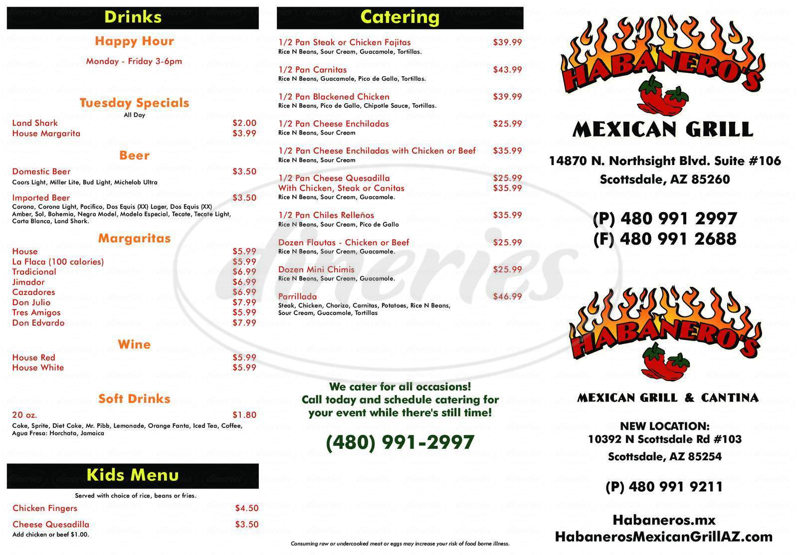 menu for Habanero's Mexican Grill