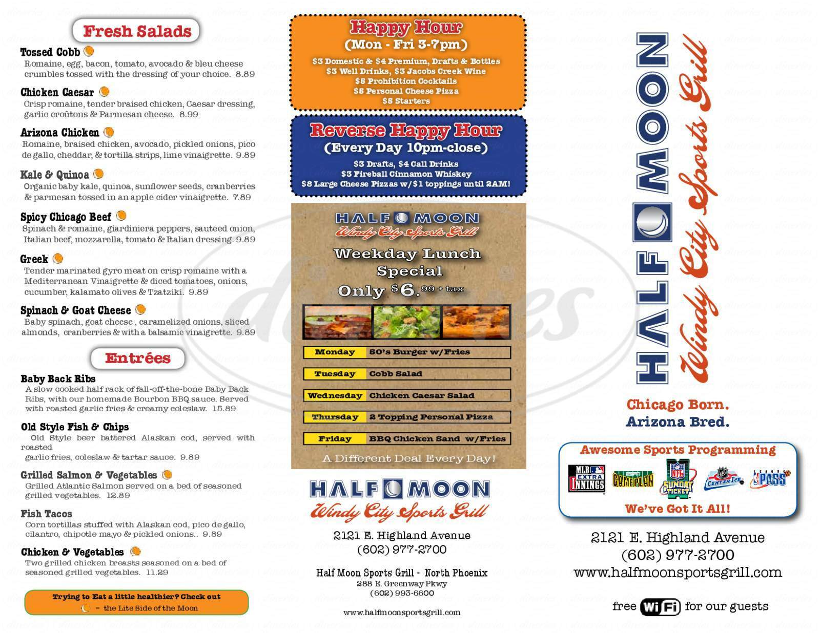 menu for Half Moon Sports Grill
