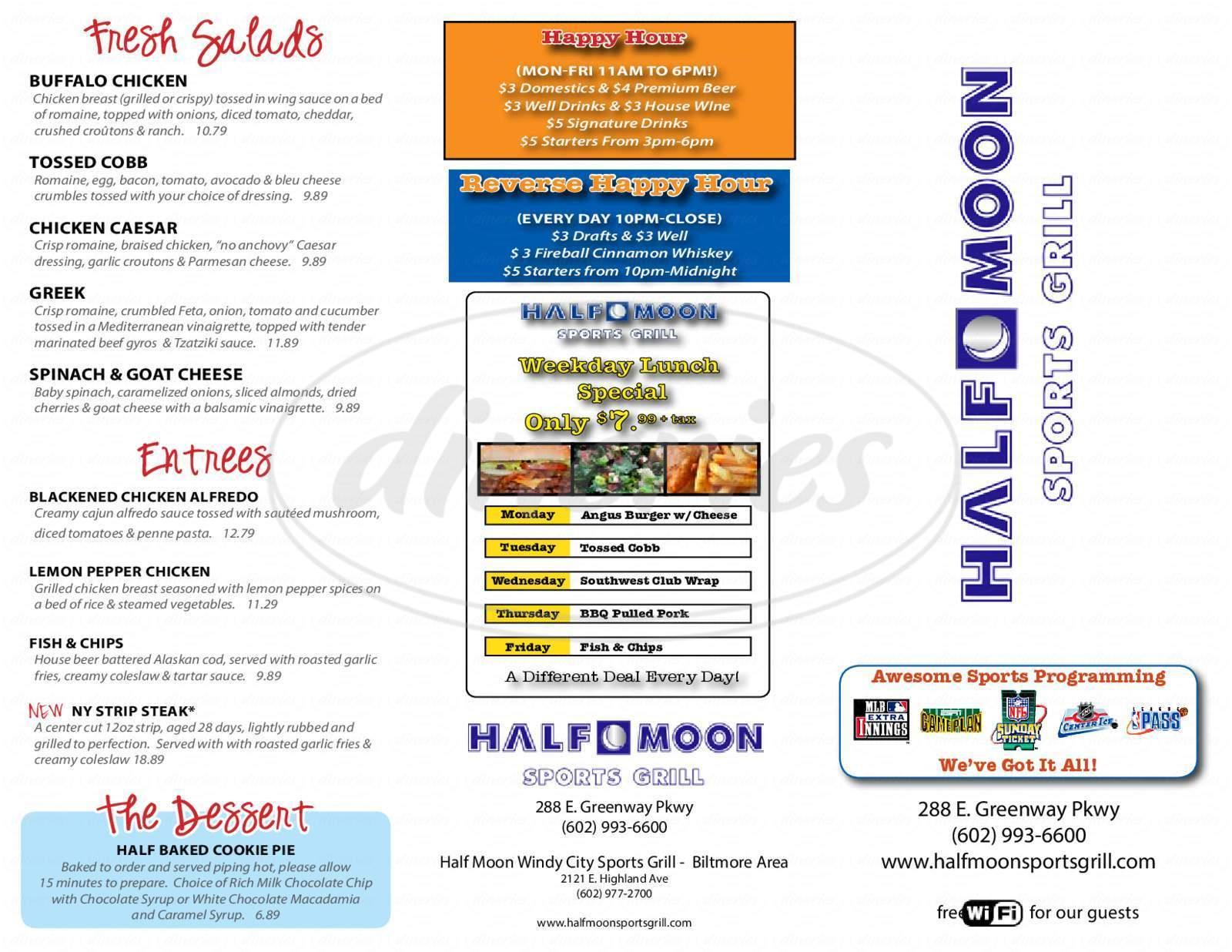 menu for Half Moon Sports Grill
