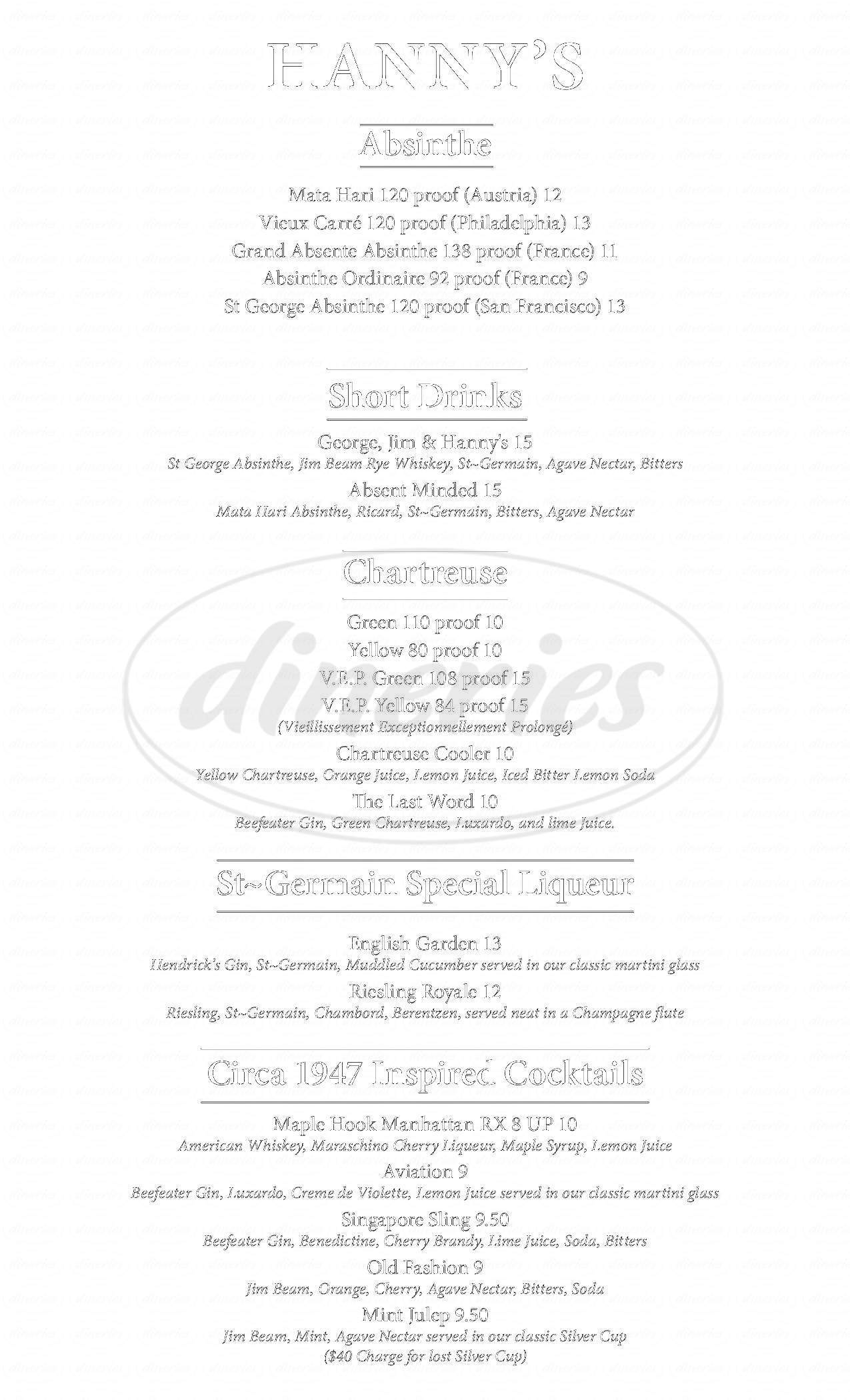 menu for Hanny's