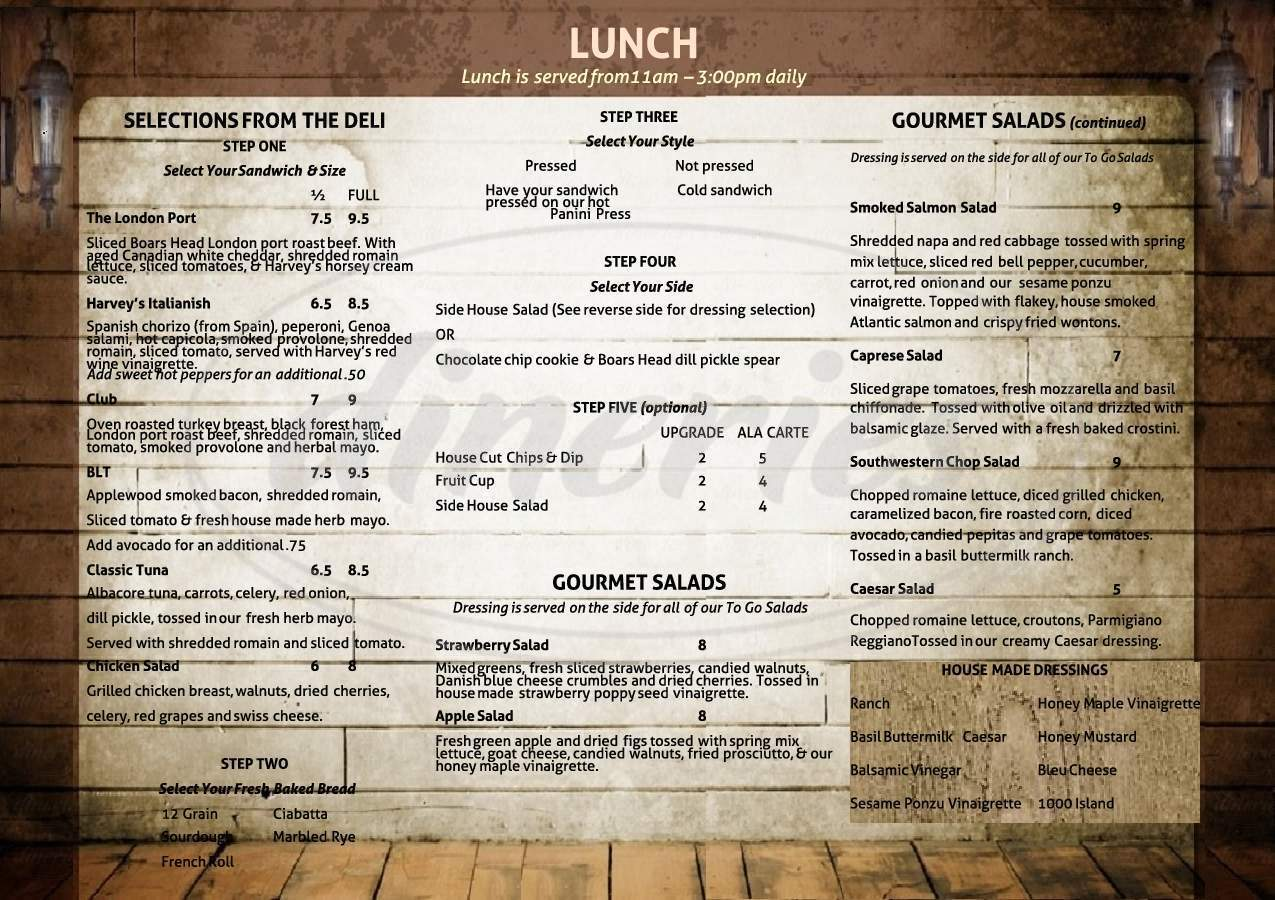 menu for Harvey American Public House