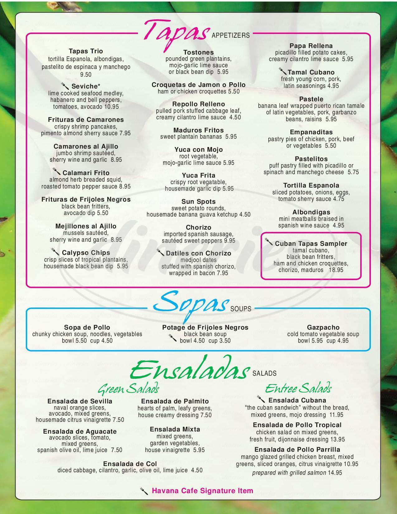 menu for Havana Cafe