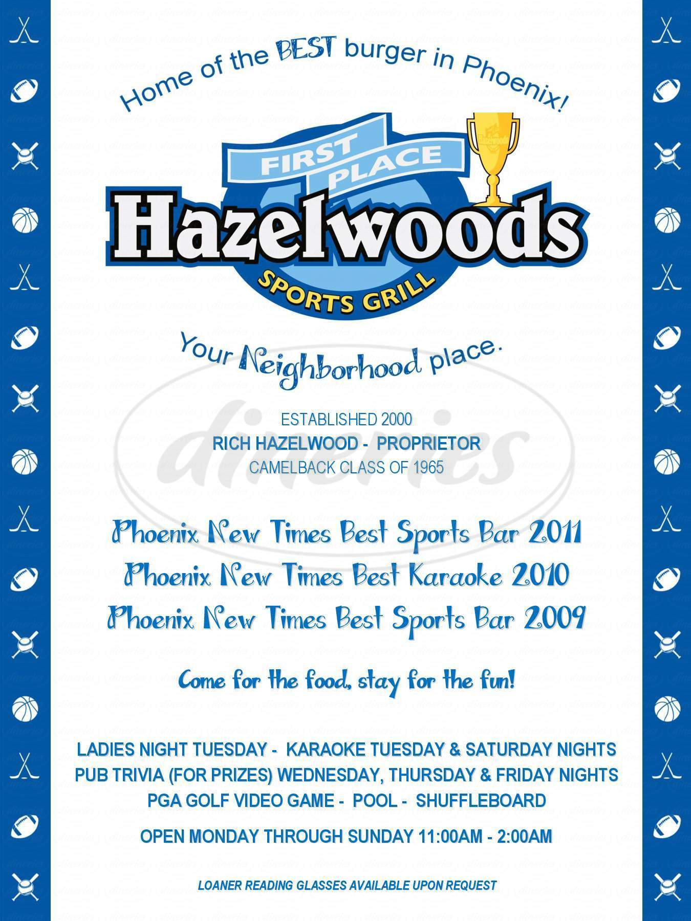 menu for Hazelwoods First Place Sports Grill