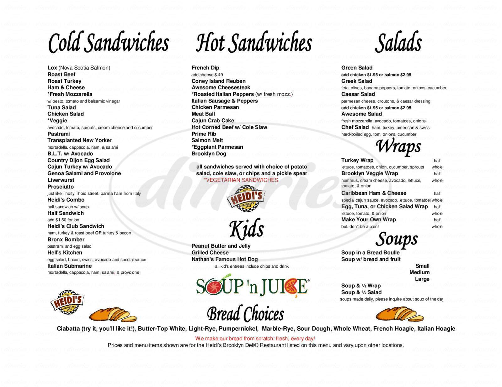 menu for Heidi's Brooklyn Deli