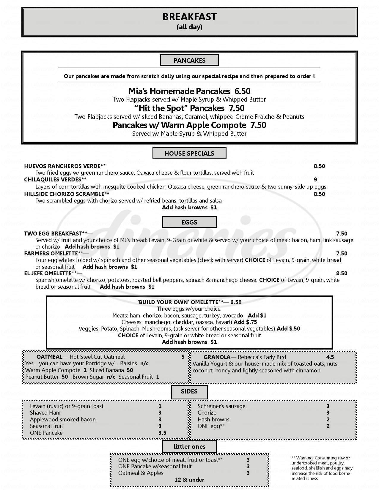 menu for Hillside Spot