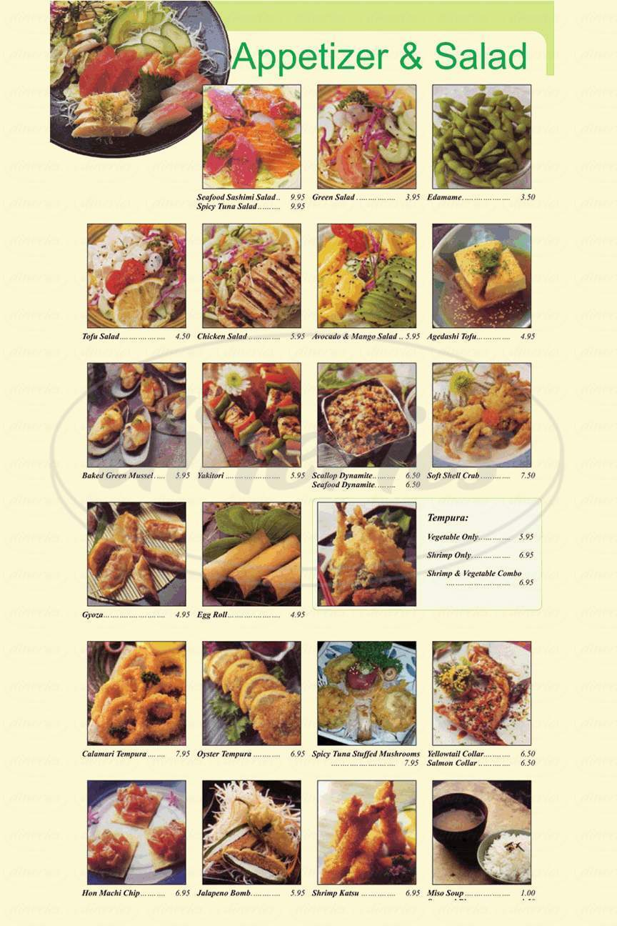 menu for Hon Machi Sushi