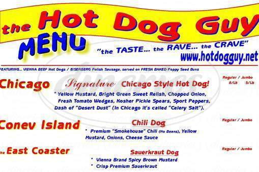 menu for Hot Dog Guy