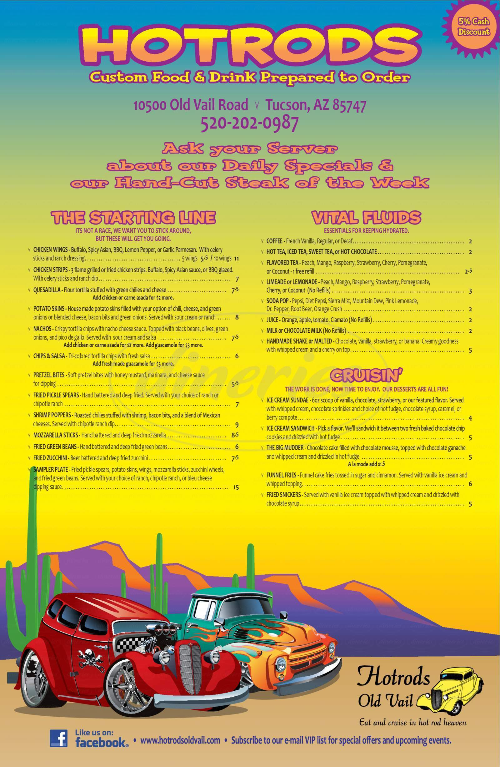 menu for Hotrods Old Vail