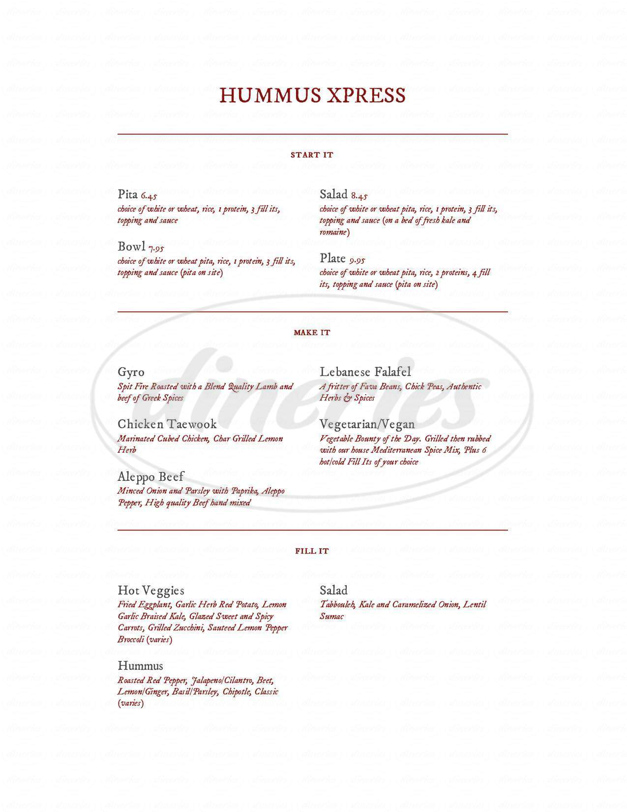 menu for Hummus Xpress