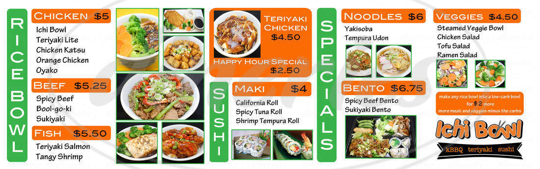 menu for Ichi Bowl
