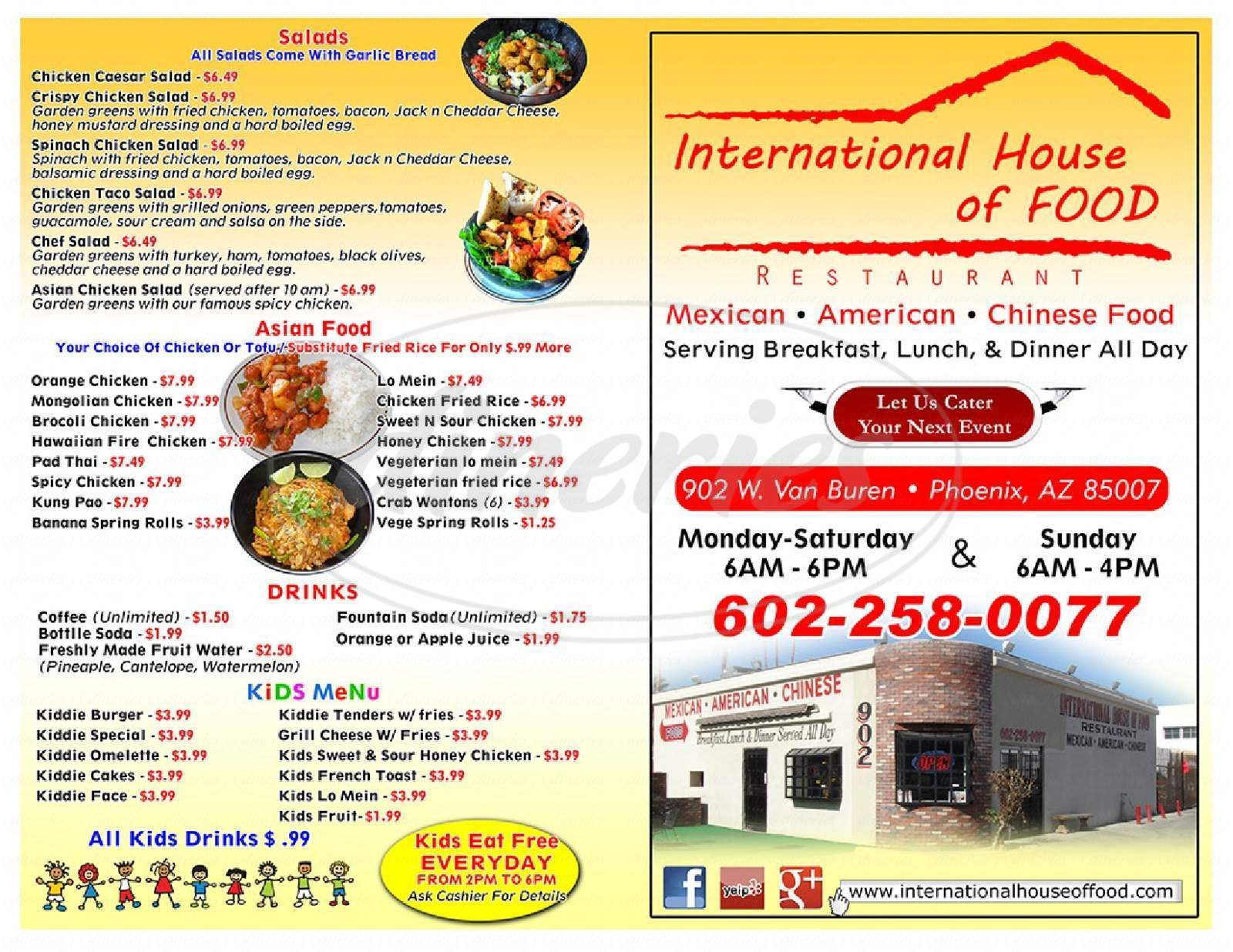 menu for International House of Food