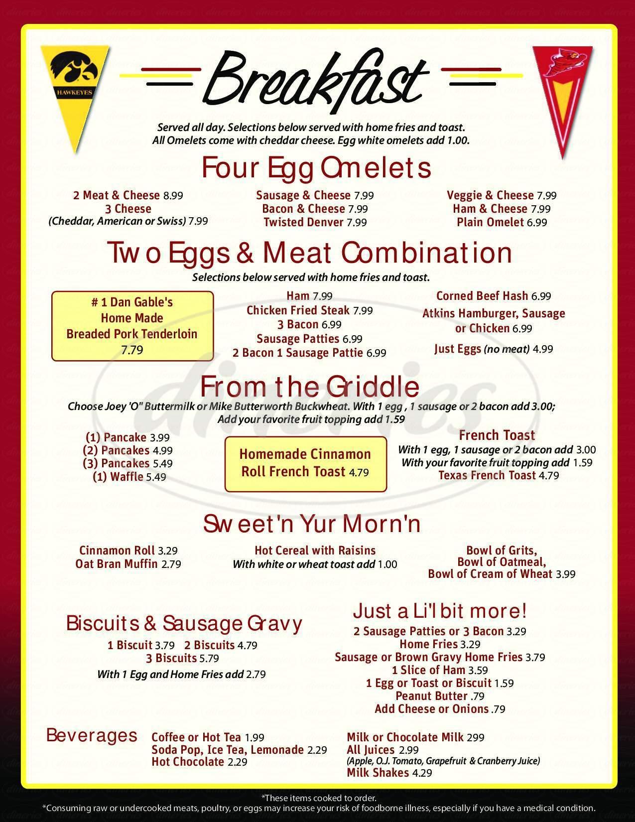 menu for The Iowa Cafe