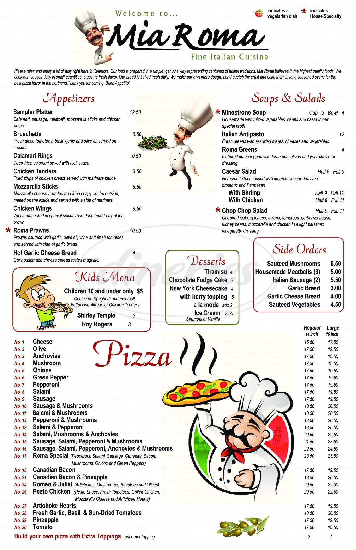 menu for Mia Roma
