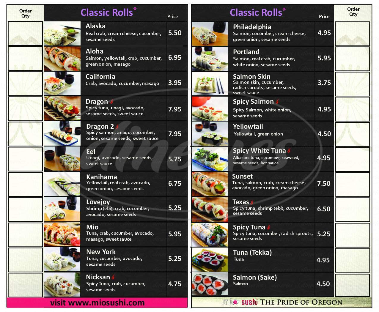 menu for Mio Sushi