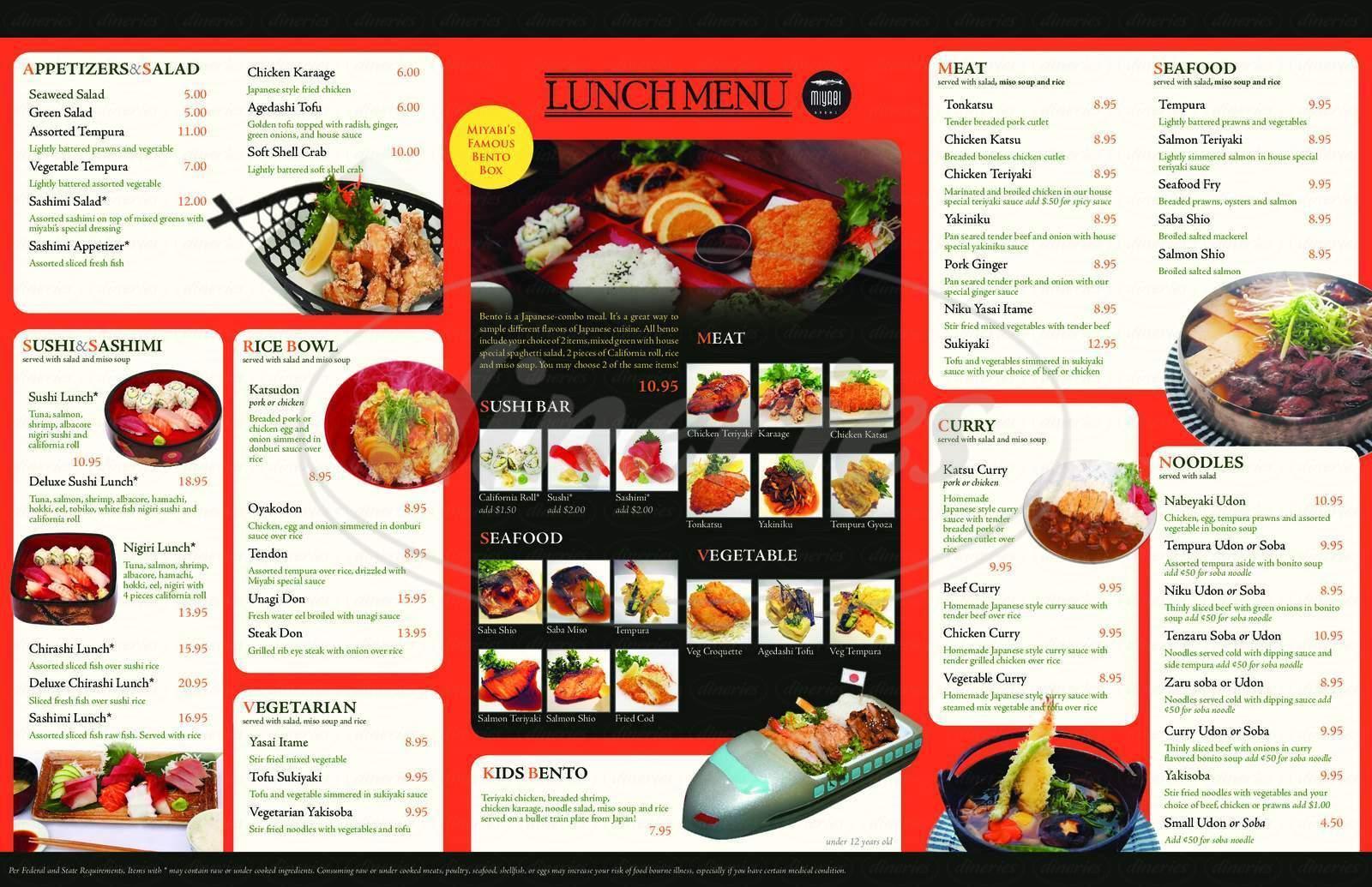 menu for Miyabi Restaurant