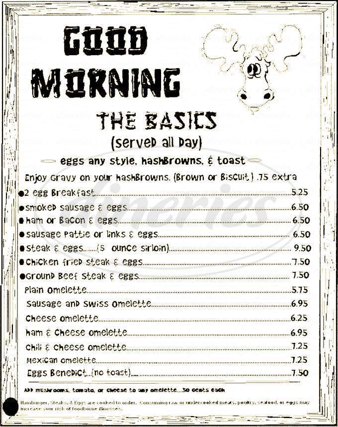menu for Moose Crossing Cafe