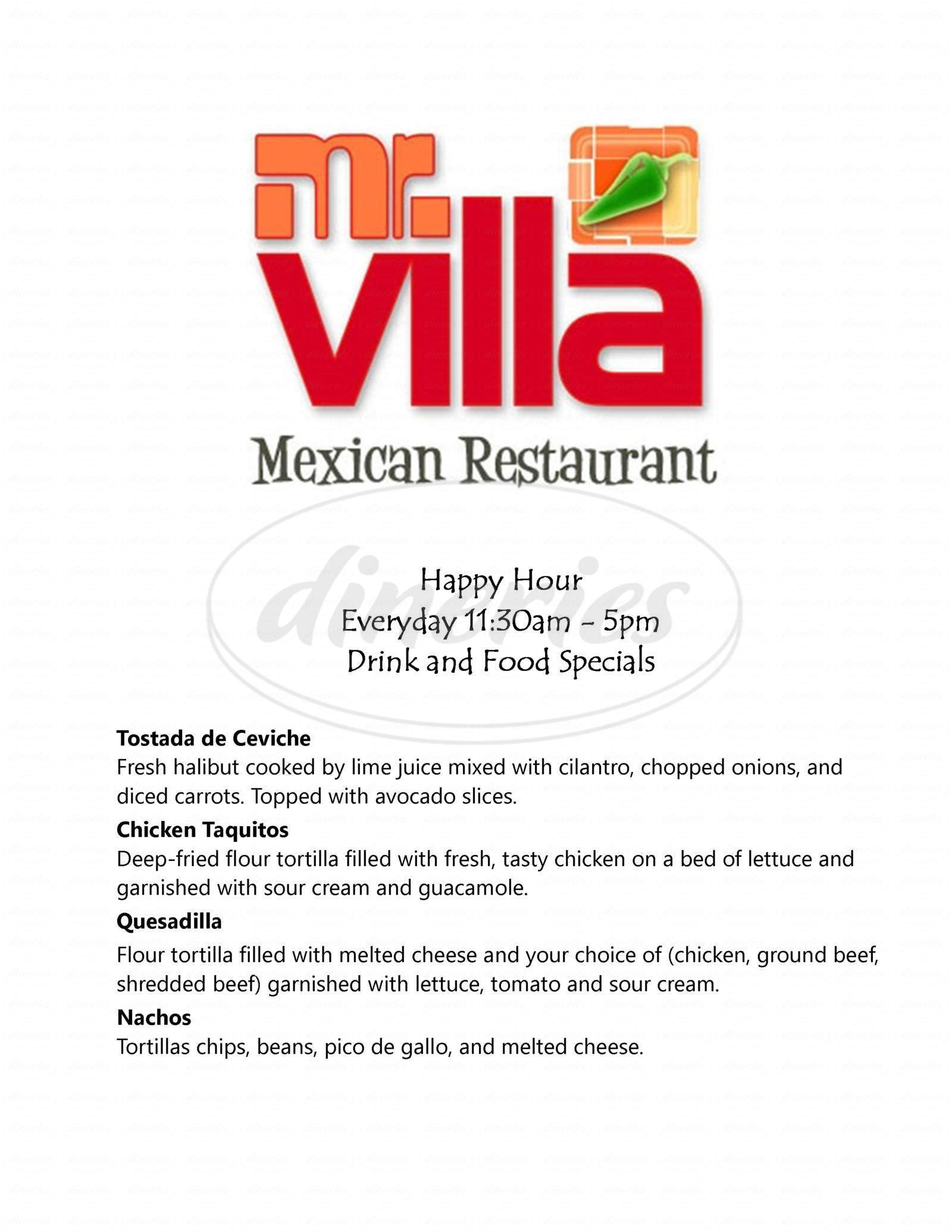 menu for Mr Villa Mexican Restaurant