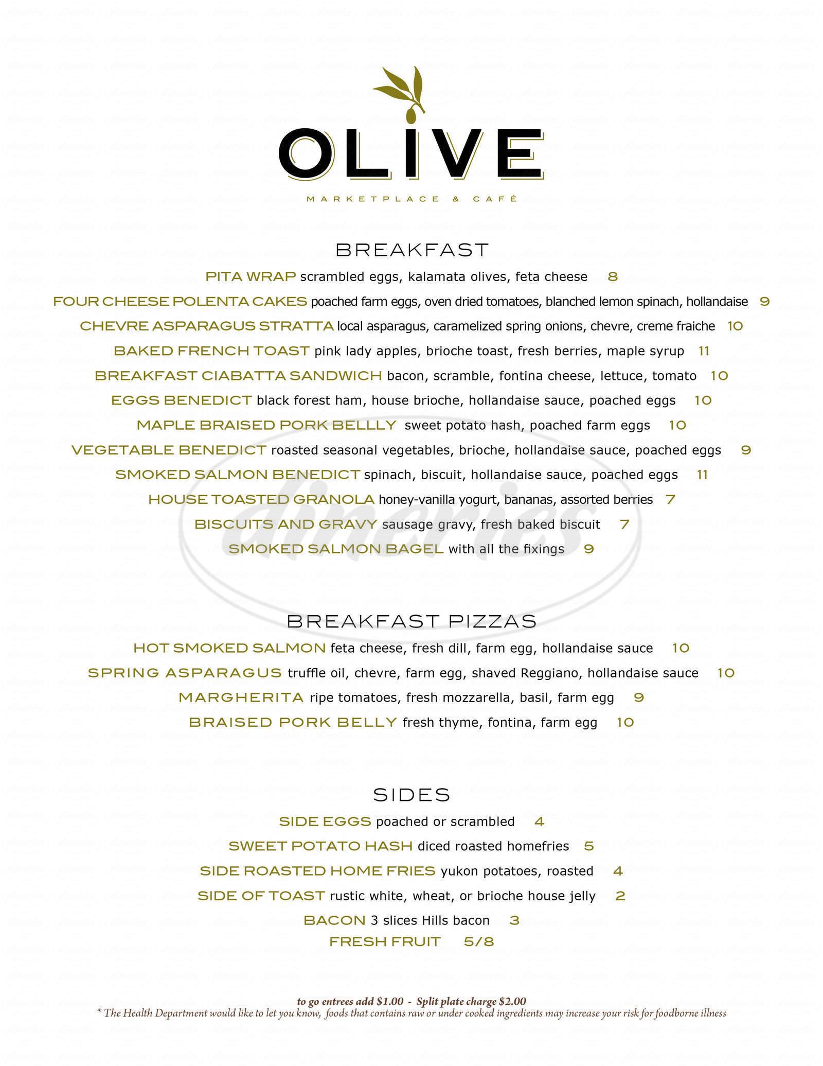 menu for Olive Marketplace & Cafe