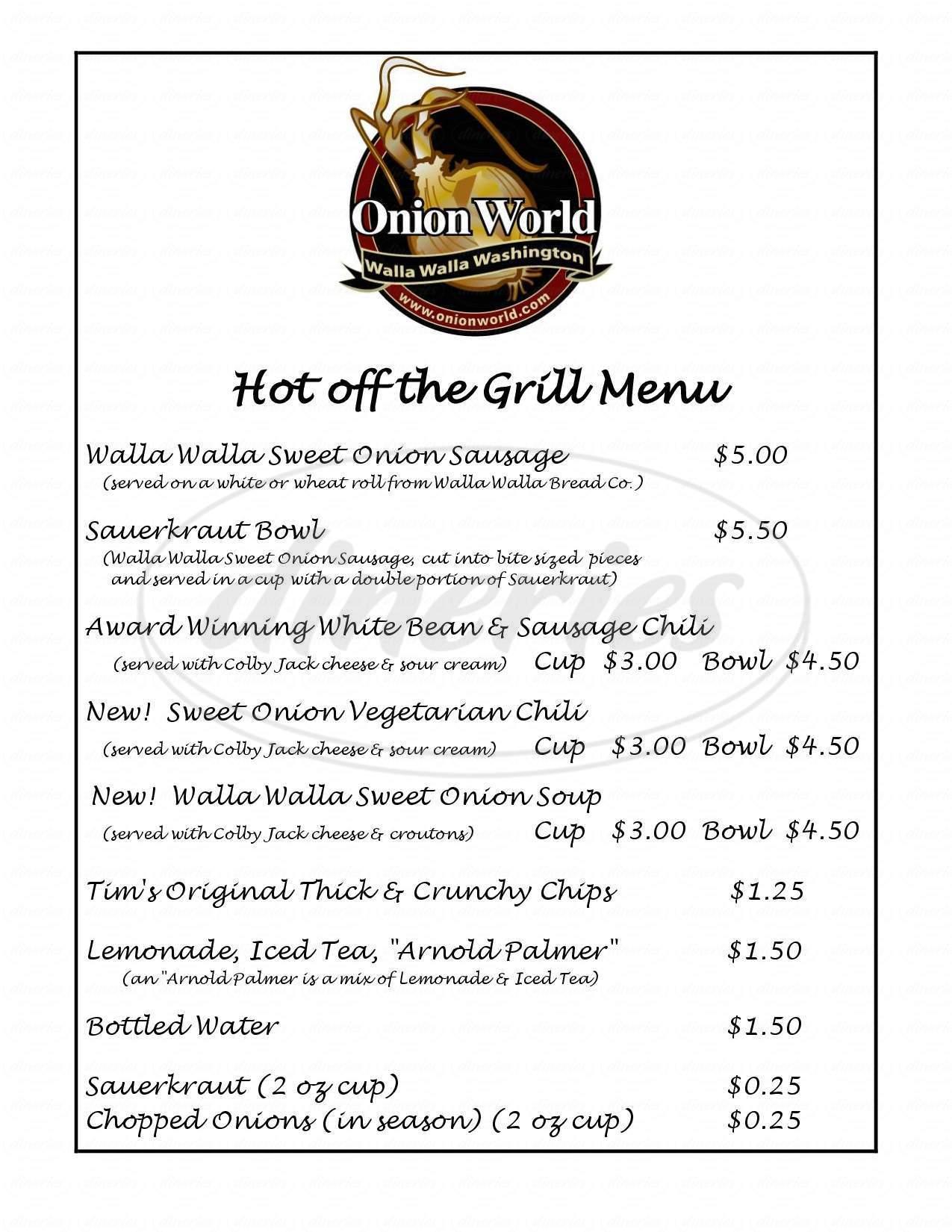 menu for Onion World
