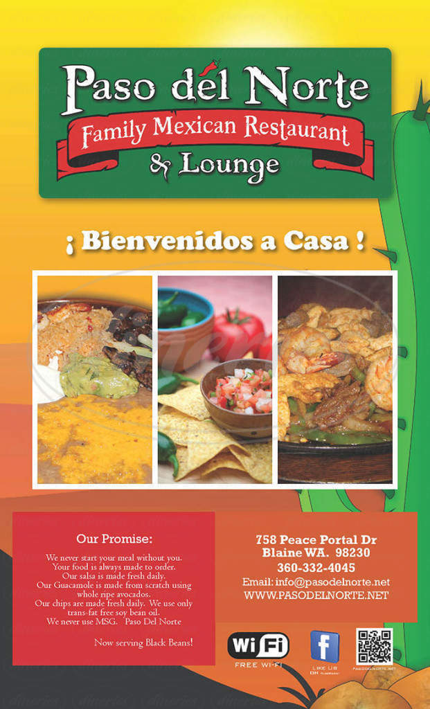 menu for Paso Del Norte