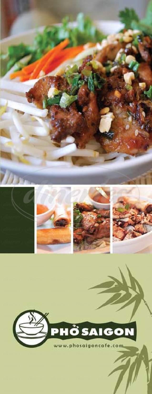 menu for Pho Saigon Restaurant
