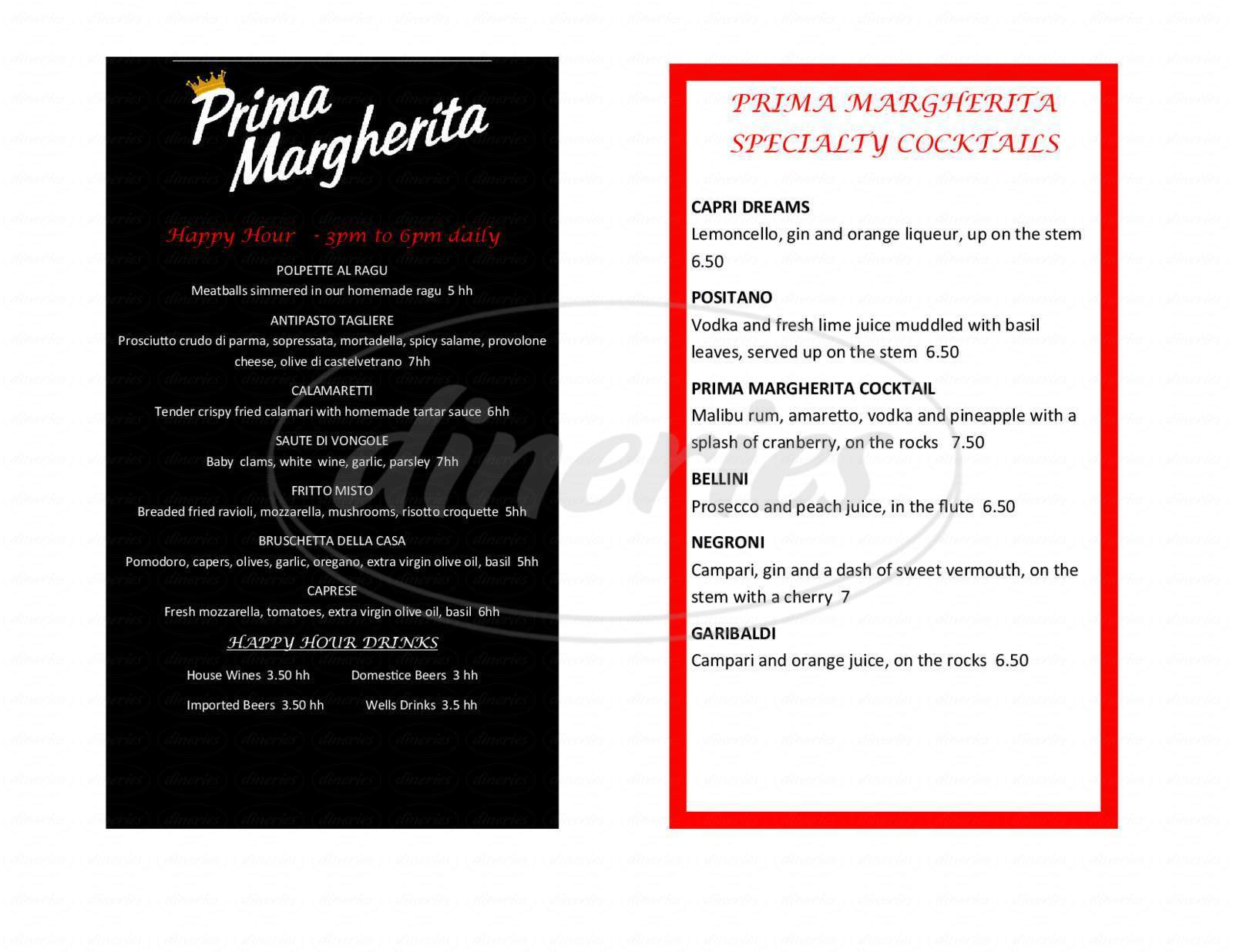 menu for Prima Margherita's