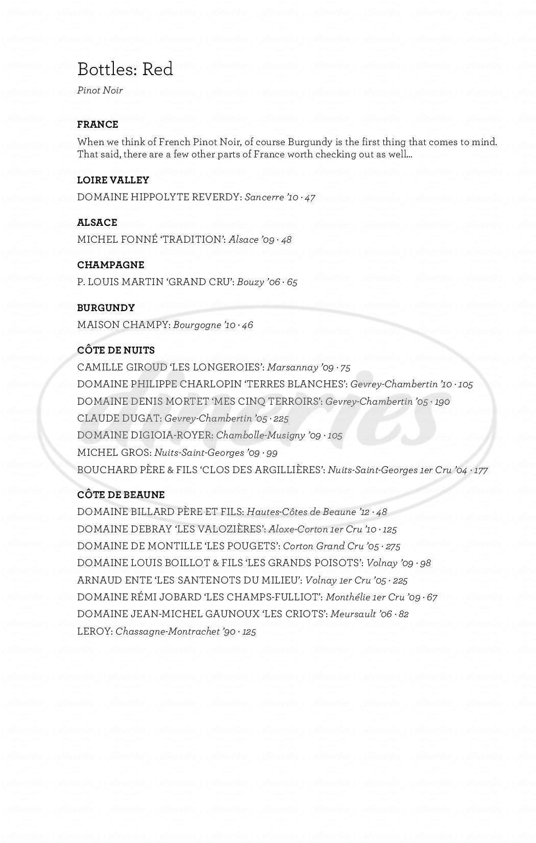menu for Purple Café and Wine Bar
