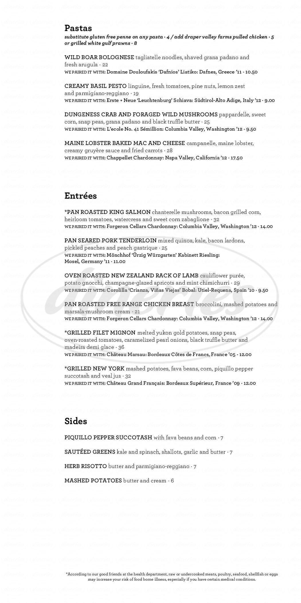 menu for Purple Café and Wine Bar