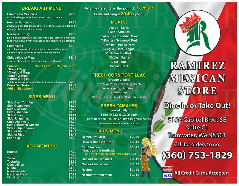 menu for Ramirez Mexican Store