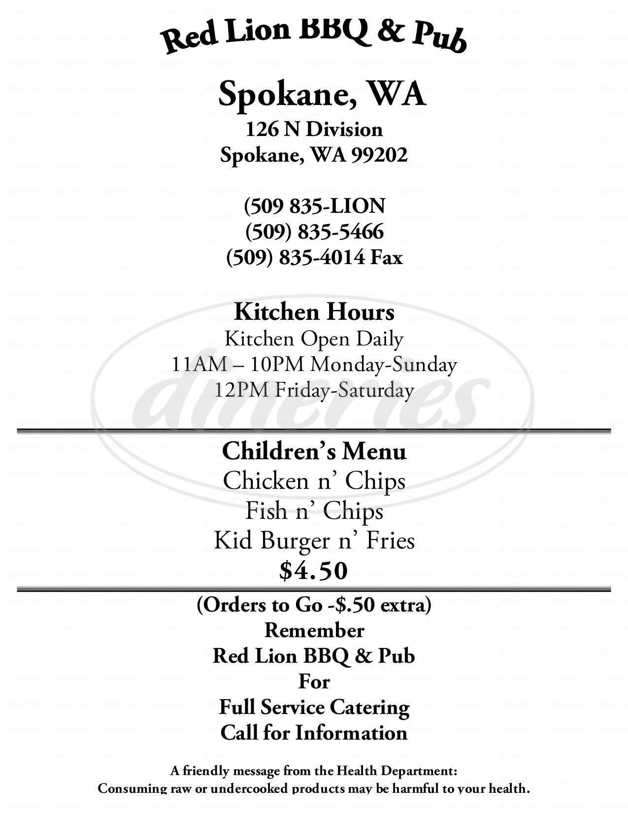 menu for Red Lion BBQ & Pub