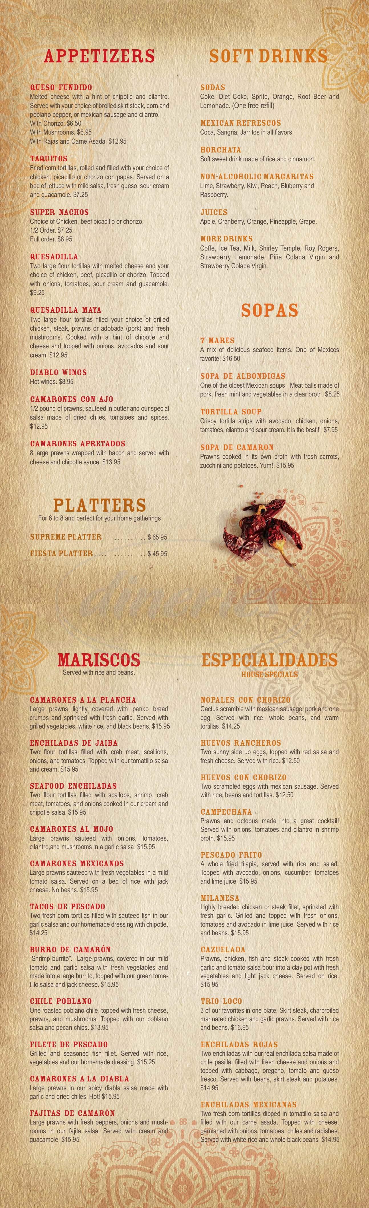 menu for Mi Tierra