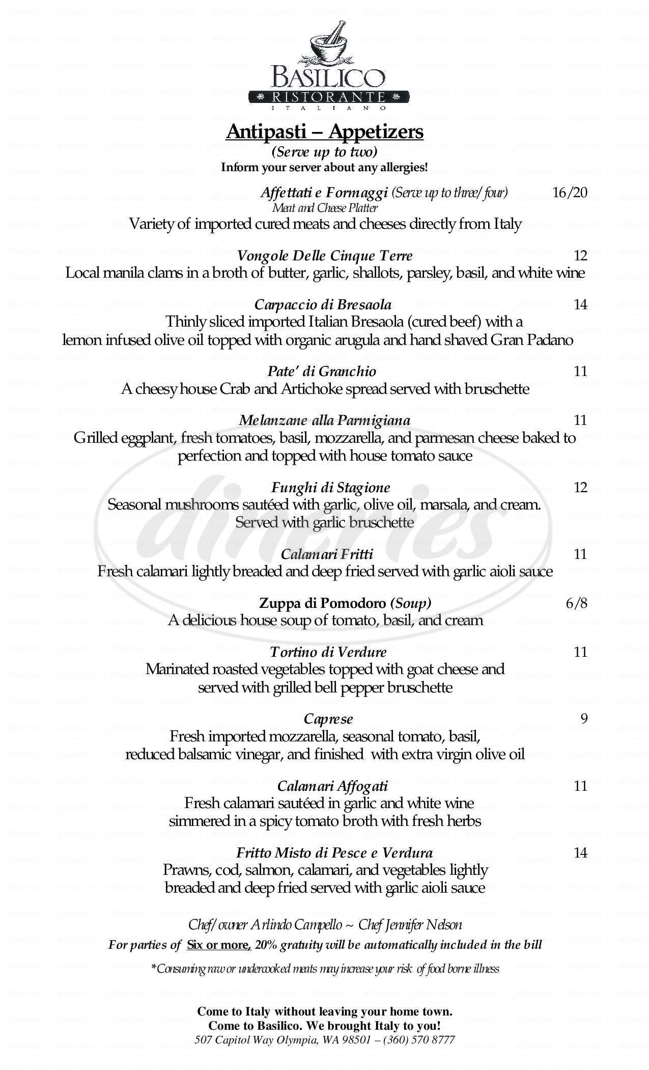 menu for Basilico Ristorante Italiano