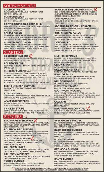 menu for Rory's of Edmonds Bar & Grill