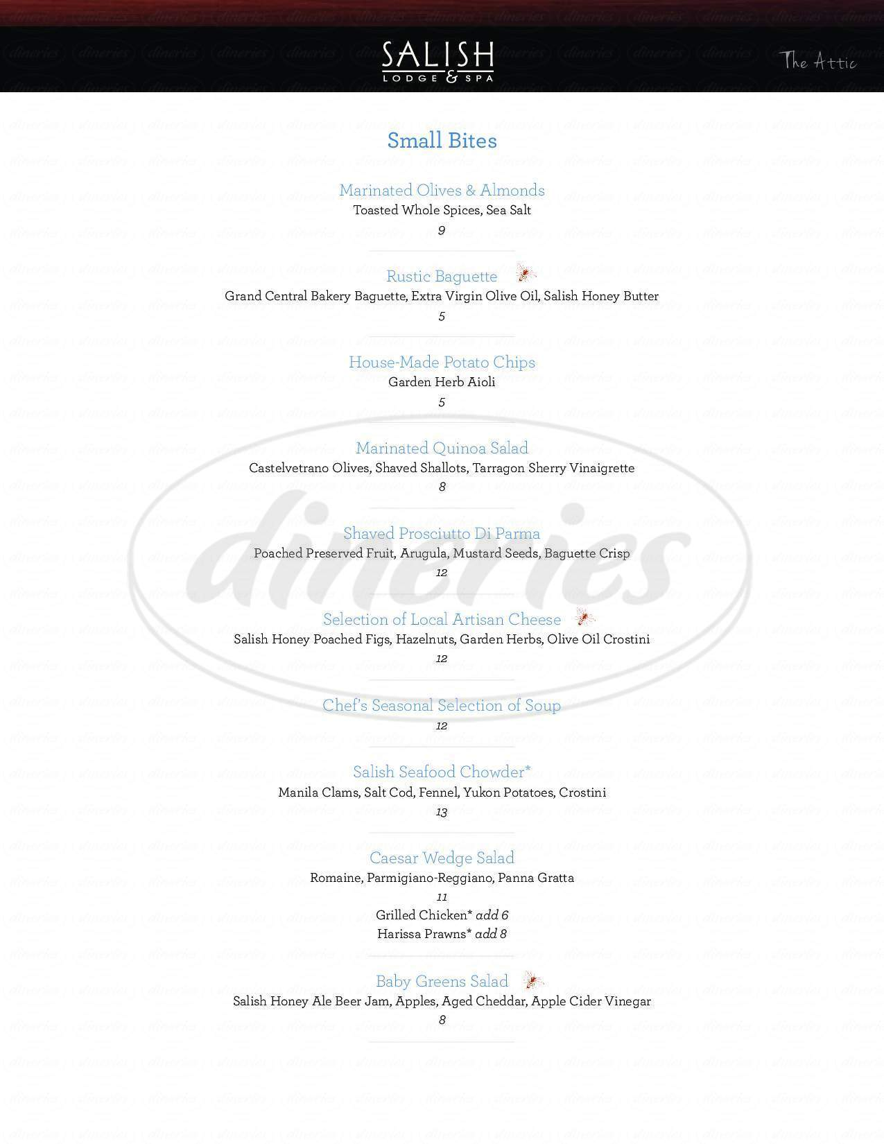 menu for The Attic at Salish Lodge