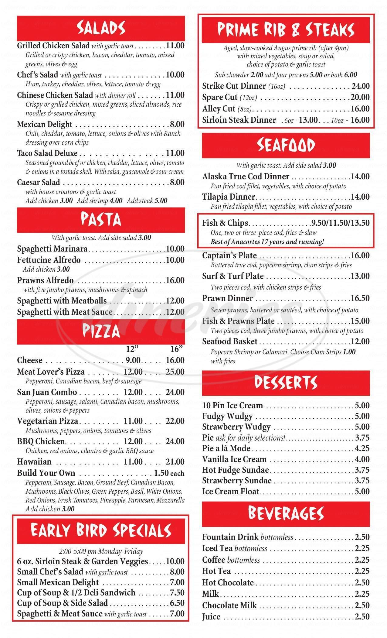 menu for San Juan Lanes Bar and Grill