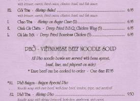 menu for New Saigon Vietnamese Restaurant II