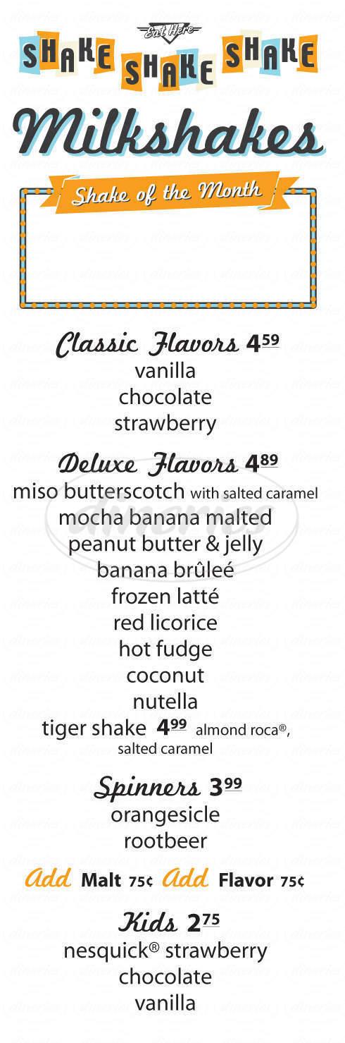 menu for Shake Shake Shake