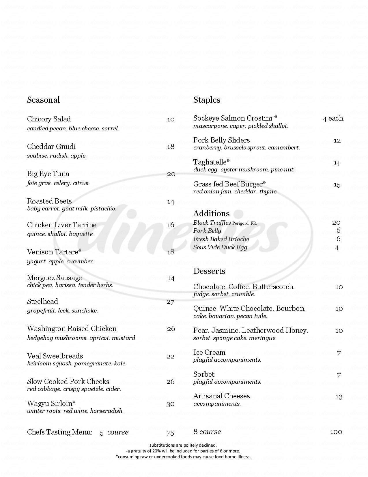 menu for Spur Gastropub