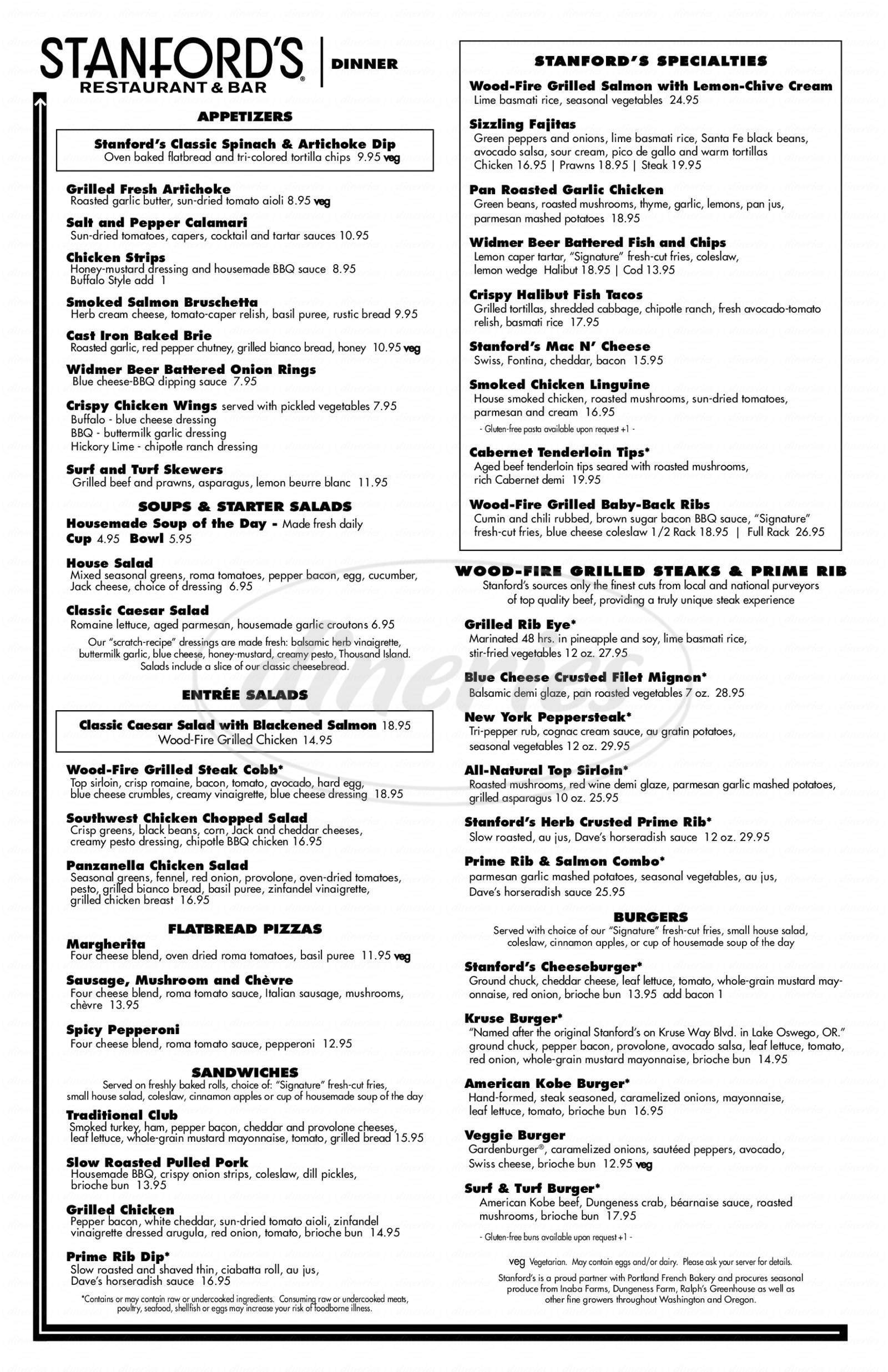 menu for Stanford's Restaurant & Bar