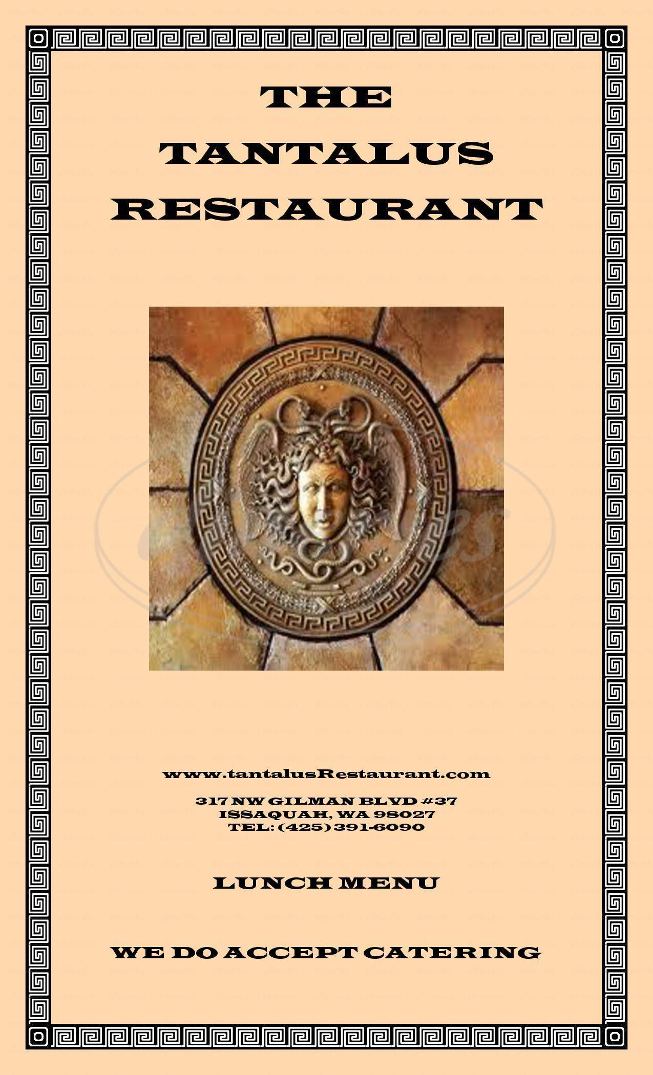 menu for Tantalus Restaurant