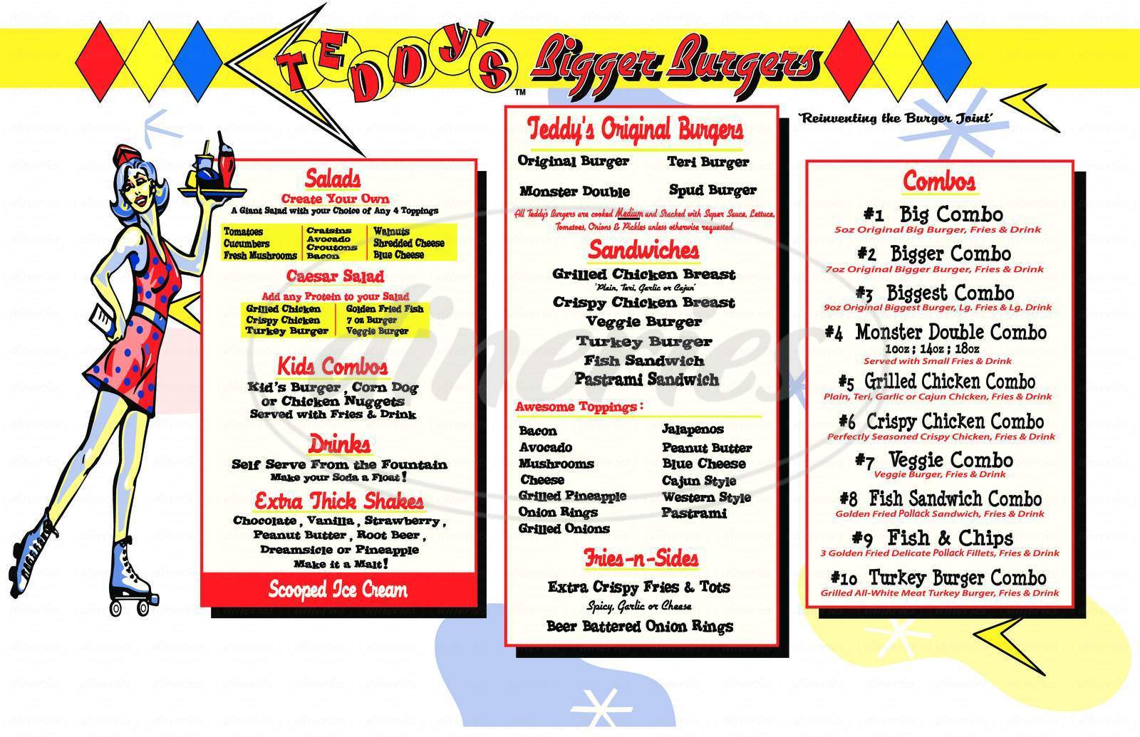 menu for Teddy's Bigger Burgers