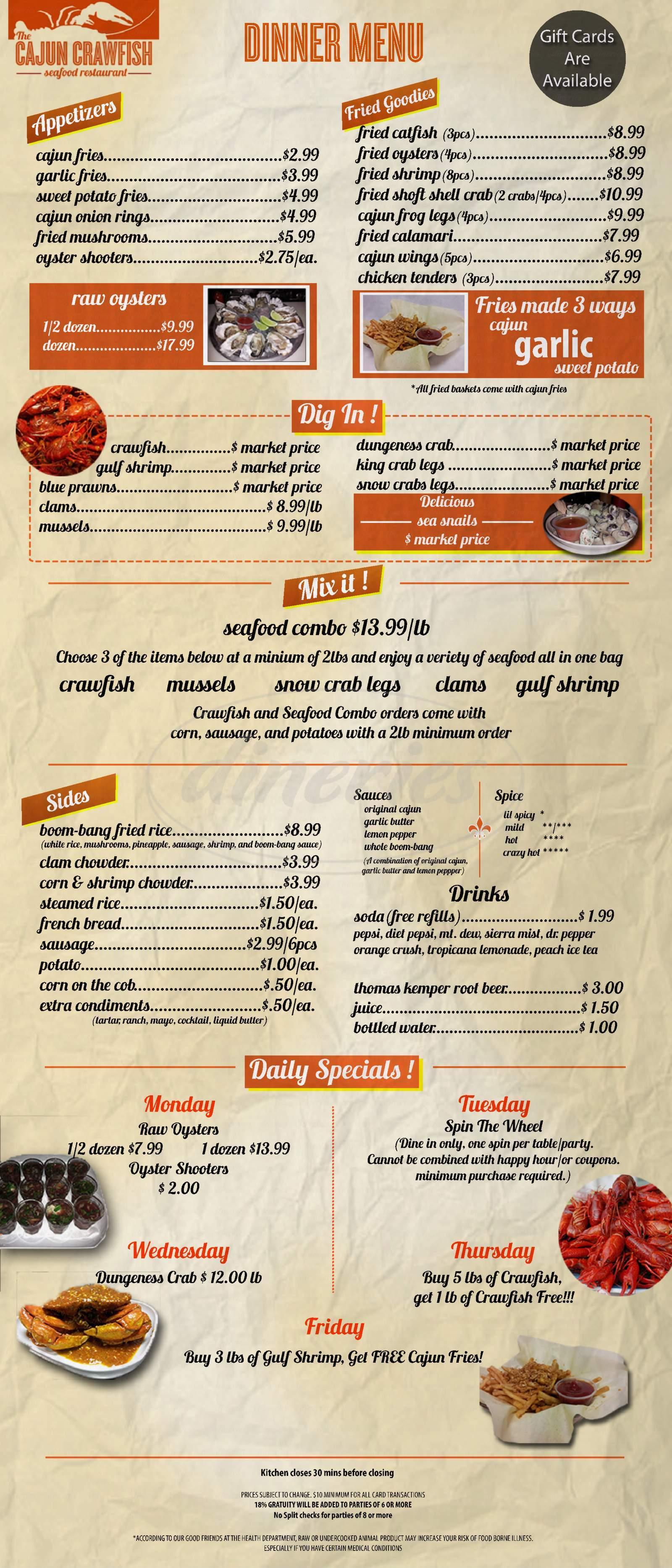 menu for The Cajun Crawfish