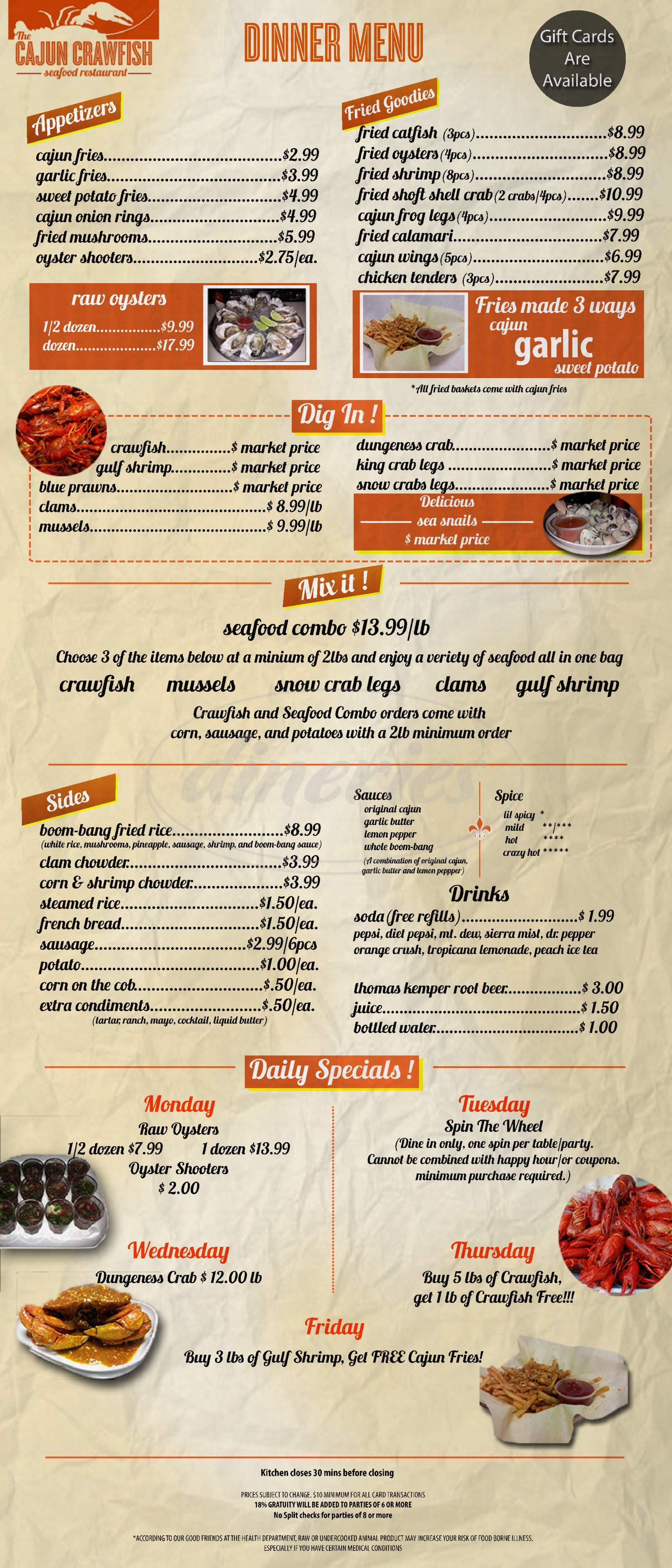 menu for The Chatter Box