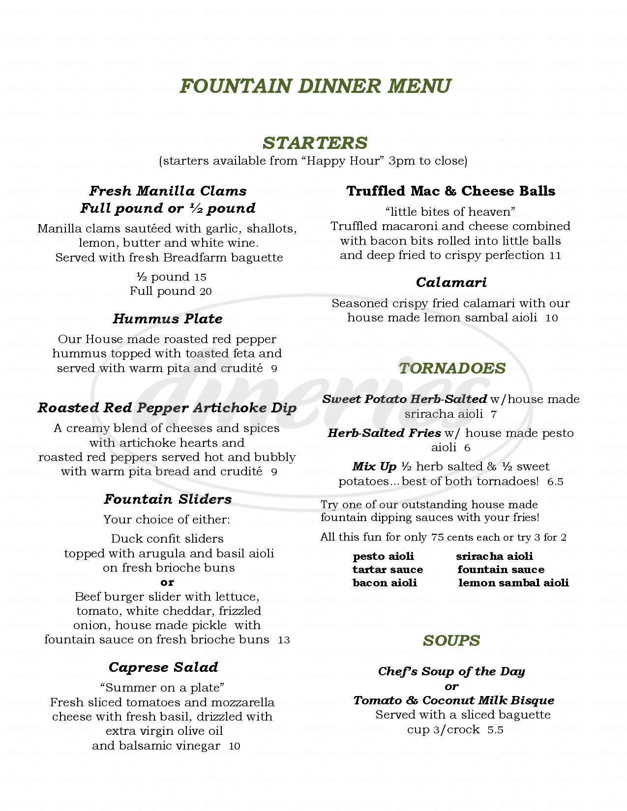menu for The Fountain Bistro & Drive-thru