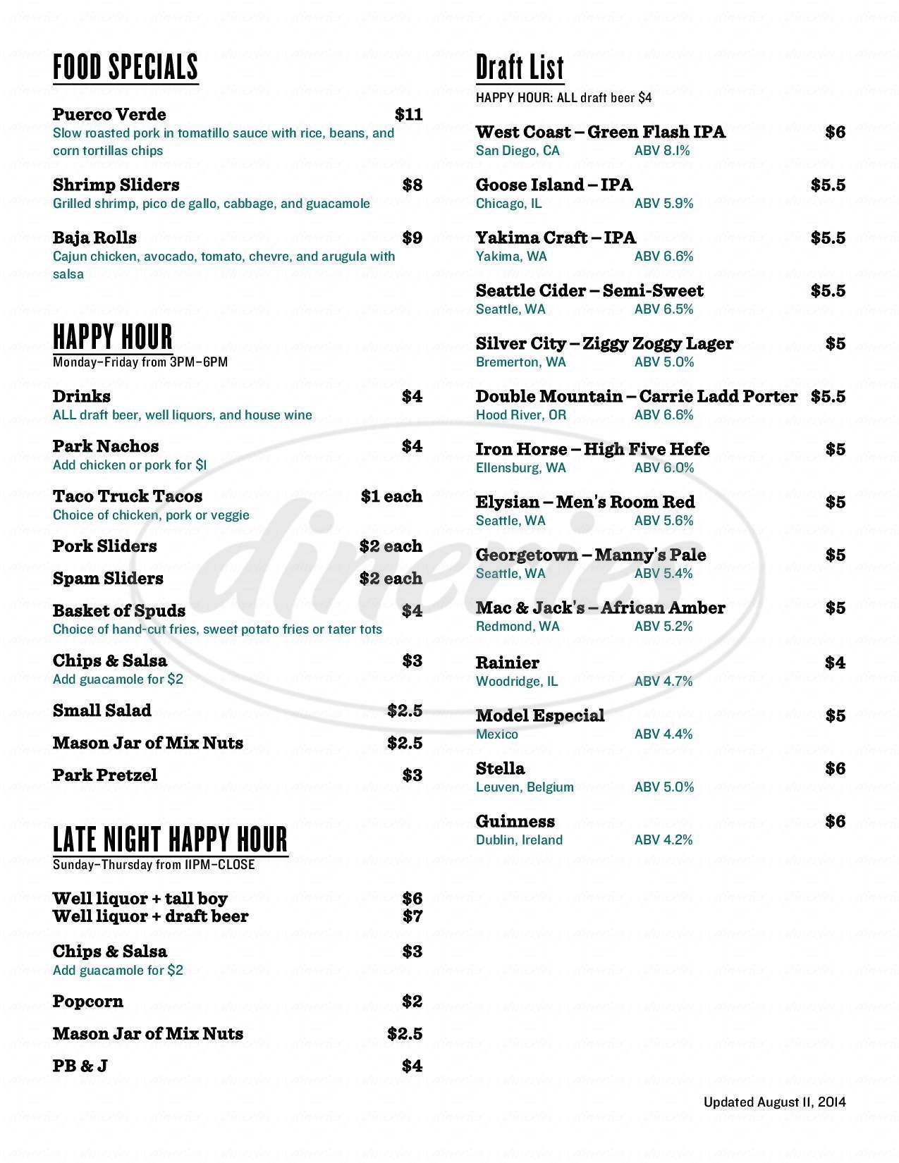 menu for The Park Public House
