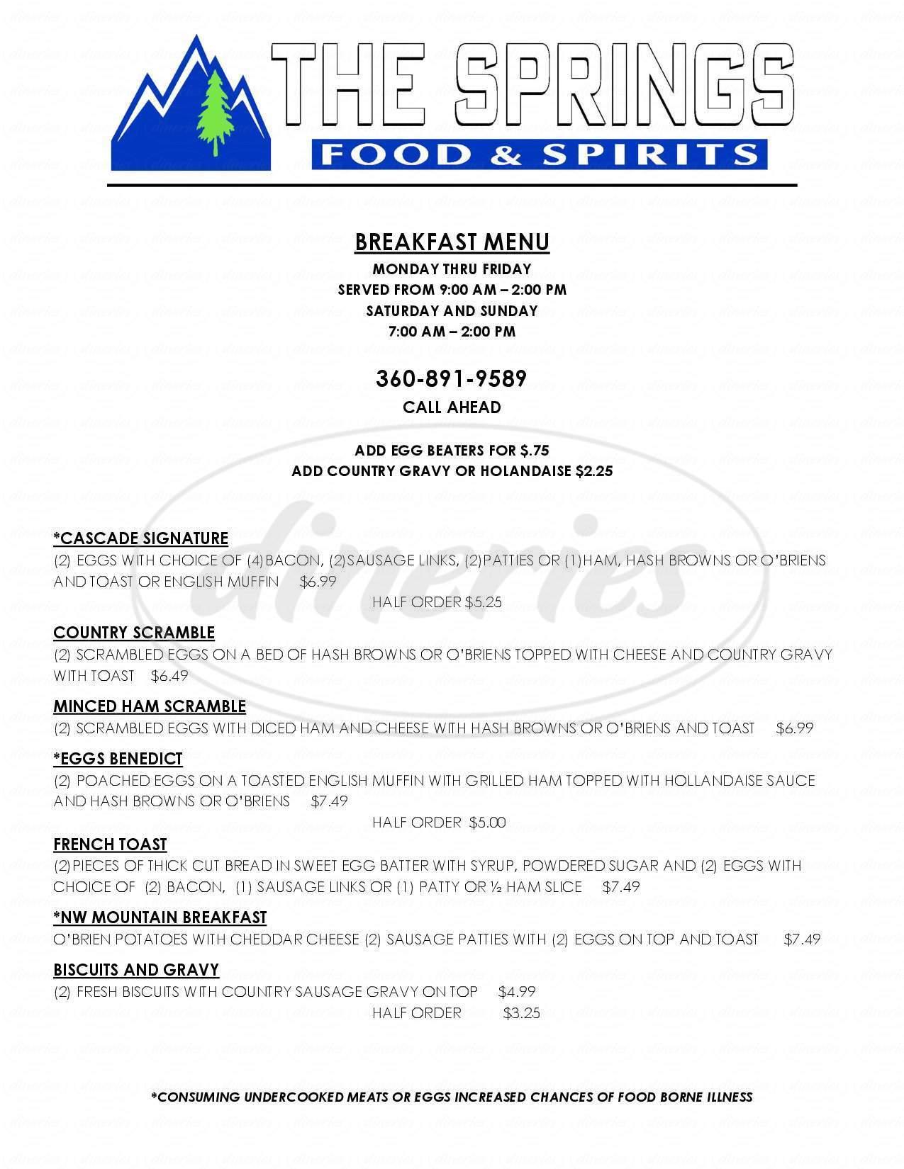 menu for The Springs