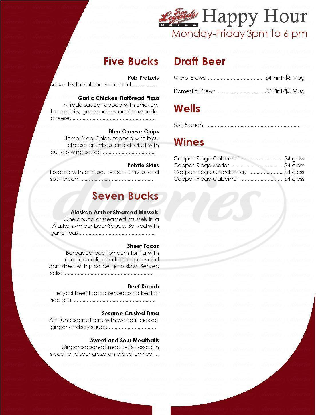 menu for True Legends Grill