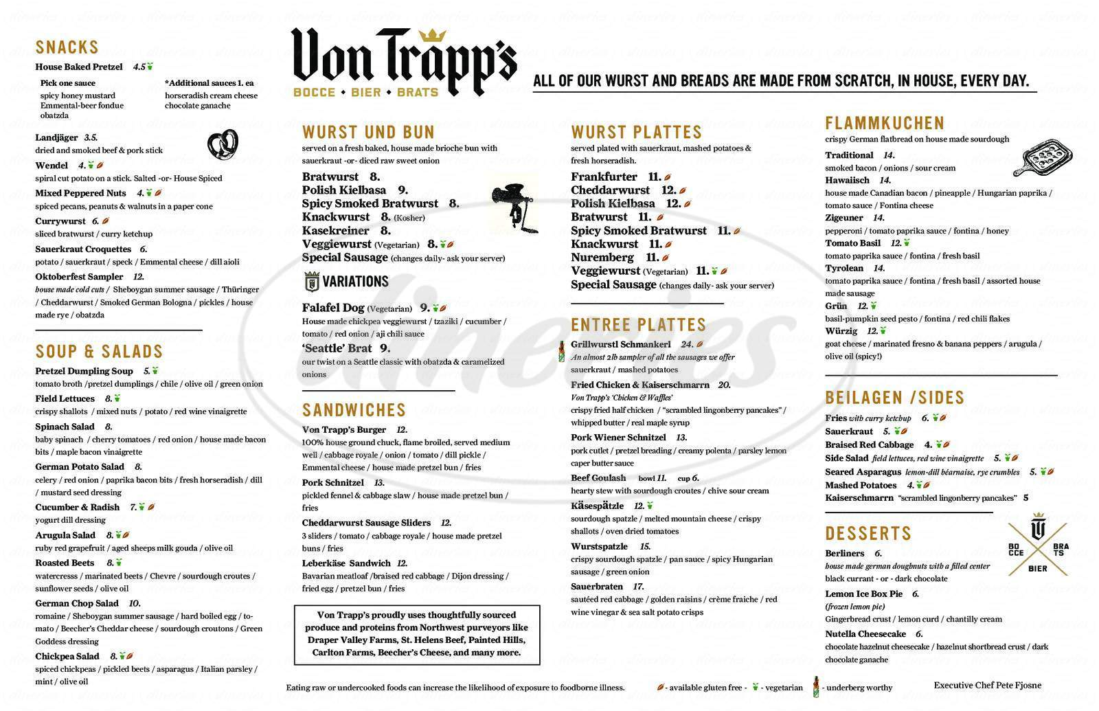 menu for Von Trapp's